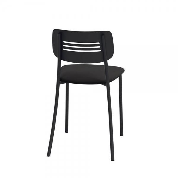 Chaise de cuisine rembourrée avec pieds et dossier strié en métal - Miro - 3