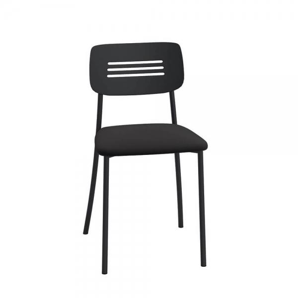 Chaise de cuisine rembourrée avec pieds et dossier strié en métal - Miro - 2