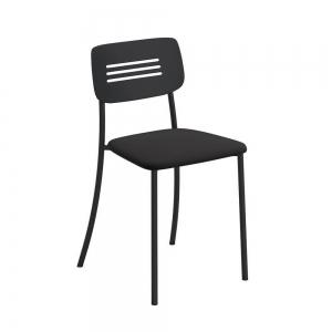 Chaise de cuisine rembourrée avec pieds et dossier strié en métal - Miro