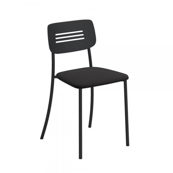 Chaise de cuisine rembourrée avec pieds et dossier strié en métal - Miro - 1