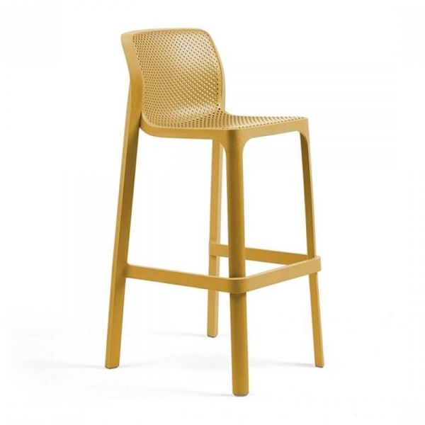 Tabouret de bar extérieur empilable en polypropylène moutarde - Net stool - 7