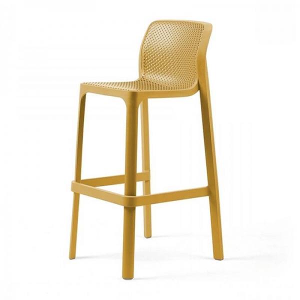 Tabouret de bar extérieur empilable en plastique moutarde - Net stool - 8