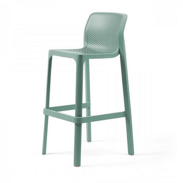 Tabouret de bar extérieur empilable en plastique vert salice - Net stool - 10