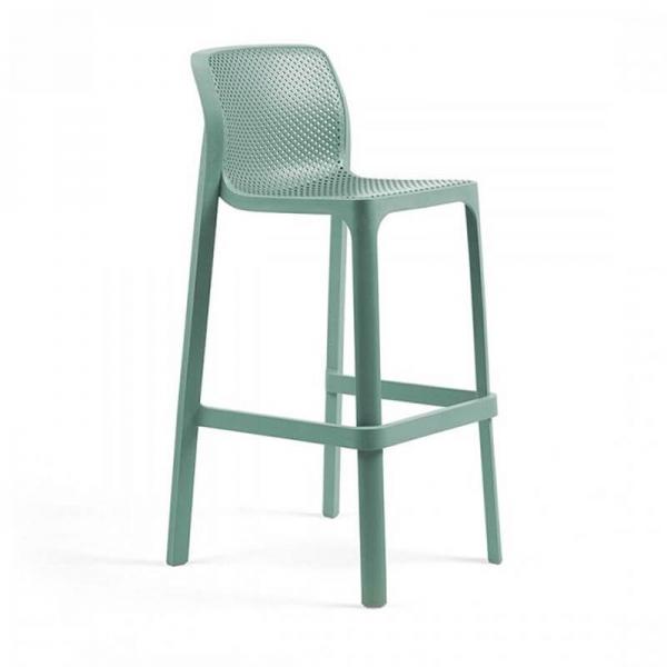 Tabouret de bar extérieur empilable en polypropylène vert salice - Net stool - 9