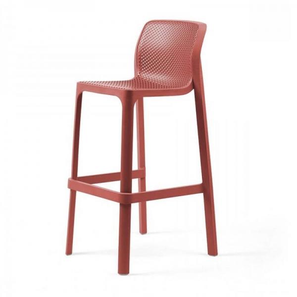 Tabouret de bar extérieur empilable en plastique corail - Net stool - 12