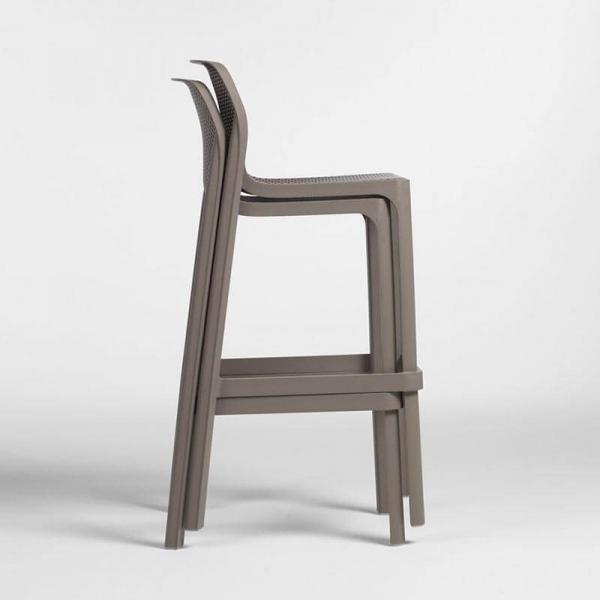 Tabouret de bar extérieur empilable en polypropylène taupe - Net stool - 13