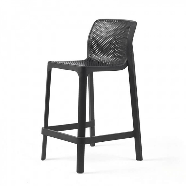 Tabouret snack extérieur empilable en plastique anthracite - Net stool mini - 15