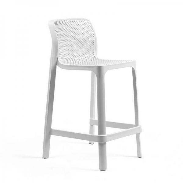 Tabouret snack extérieur empilable en polypropylène blanc - Net stool mini - 16