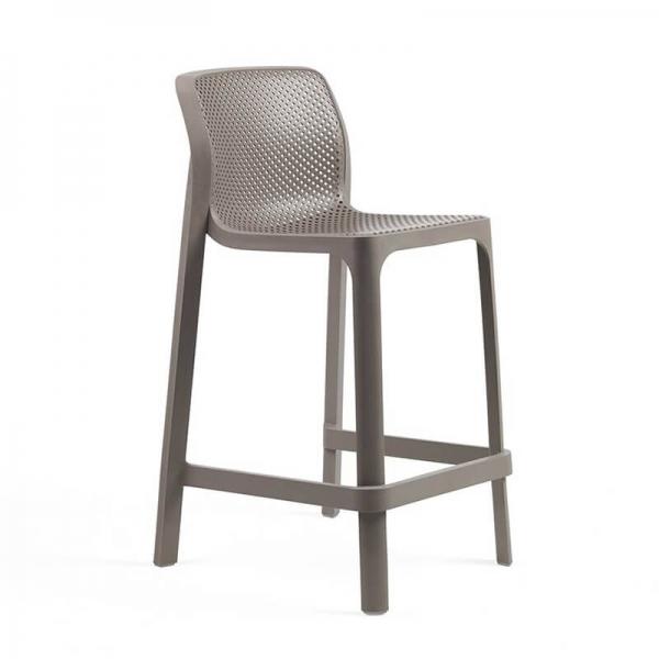 Tabouret snack extérieur empilable en polypropylène taupe - Net stool mini - 24