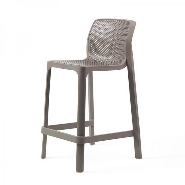 Tabouret snack extérieur empilable en plastique taupe - Net stool mini - 25