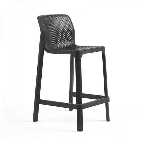 Tabouret snack extérieur empilable en polypropylène anthracite - Net stool mini - 14
