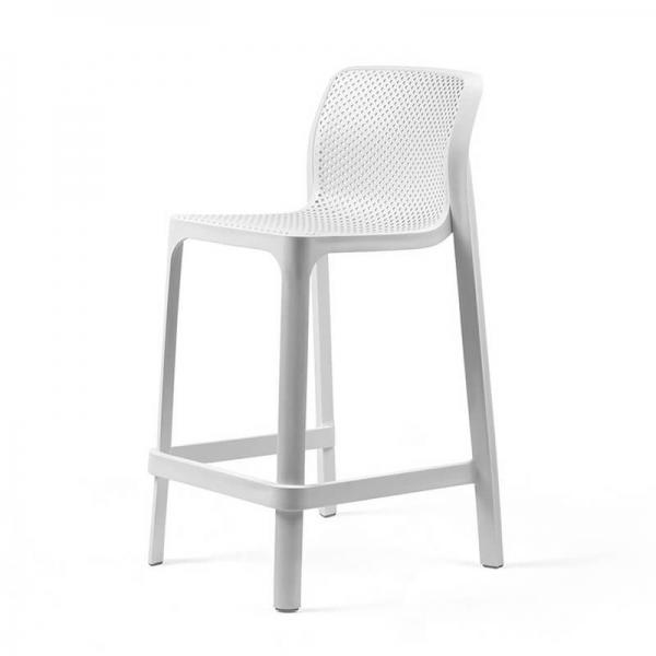 Tabouret snack extérieur empilable en plastique blanc - Net stool mini - 17