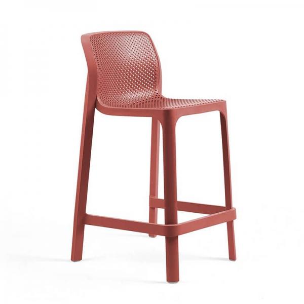 Tabouret snack extérieur empilable en polypropylène corail - Net stool mini - 18