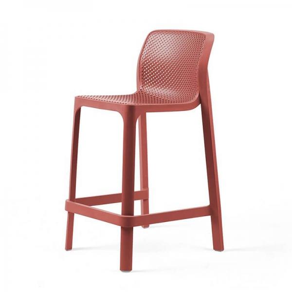 Tabouret snack extérieur empilable en plastique corail - Net stool mini - 19