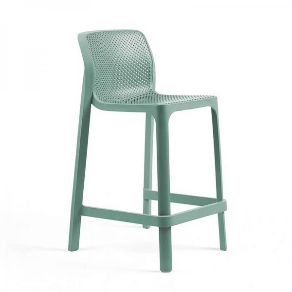 Tabouret snack extérieur empilable en polypropylène vert salice - Net stool mini - 20