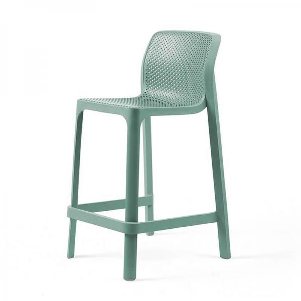 Tabouret snack extérieur empilable en plastique vert salice - Net stool mini - 21