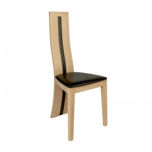 Chaise de salle à manger française en chêne massif rembourrée assise noire - Anis 1420