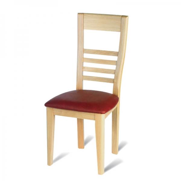 Chaise de salle à manger fabriquée en France en chêne massif rembourrée rouge - Safran - 5