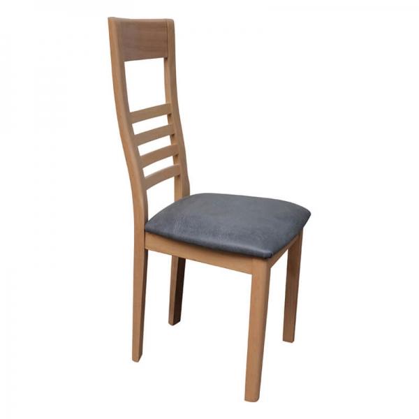 Chaise fabriquée en France en chêne massif et synthétique gris - Safran - 1