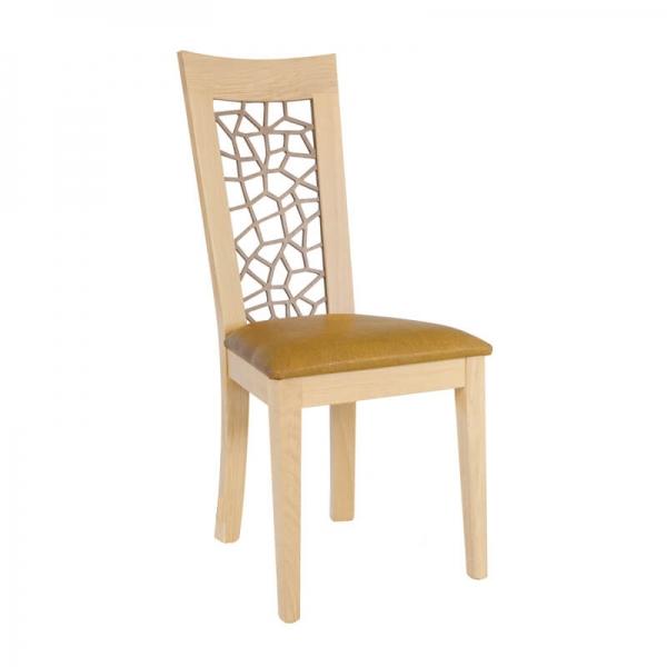 Chaise contemporaine rembourrée en synthétique jaune - Crocus 1652 - 3