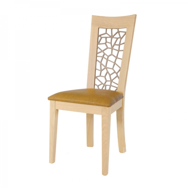 Chaise made in France contemporaine rembourrée en synthétique jaune - Crocus 1652 - 4