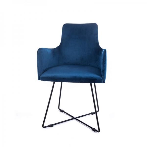 Fauteuil de salle à manger en tissu bleu et pieds métal noir - Anders  - 2