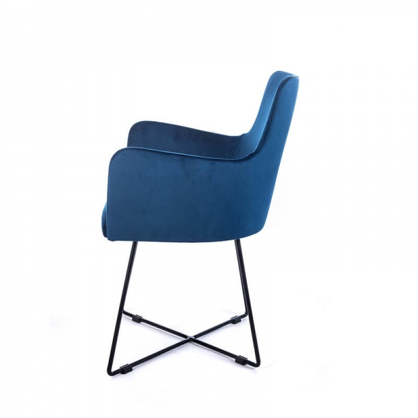 Fauteuil en tissu bleu design et pieds métal noir - Anders  - 5