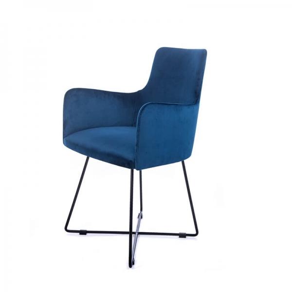 Fauteuil design en tissu bleu et pieds métal noir - Anders  - 4