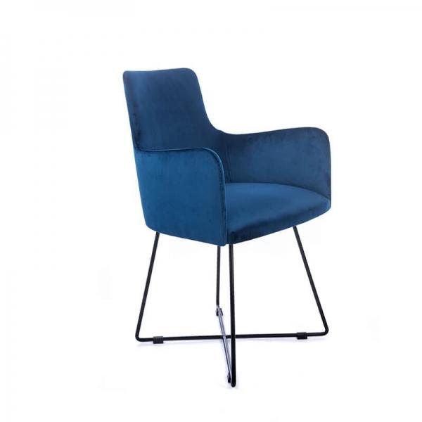 Fauteuil de séjour en tissu bleu et pieds métal noir - Anders  - 3
