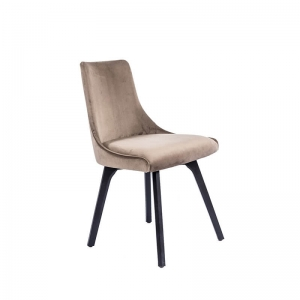 Chaise cocooning en tissu gris et pieds en bois noir - Lars