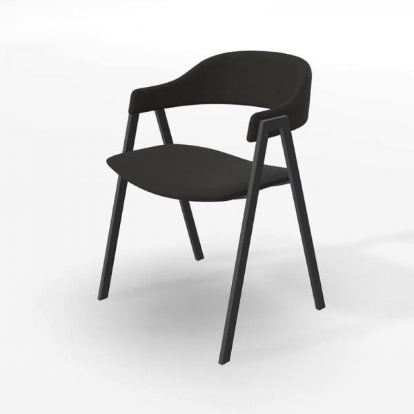 Chaise avec accoudoirs en tissu noir - Arca - 2
