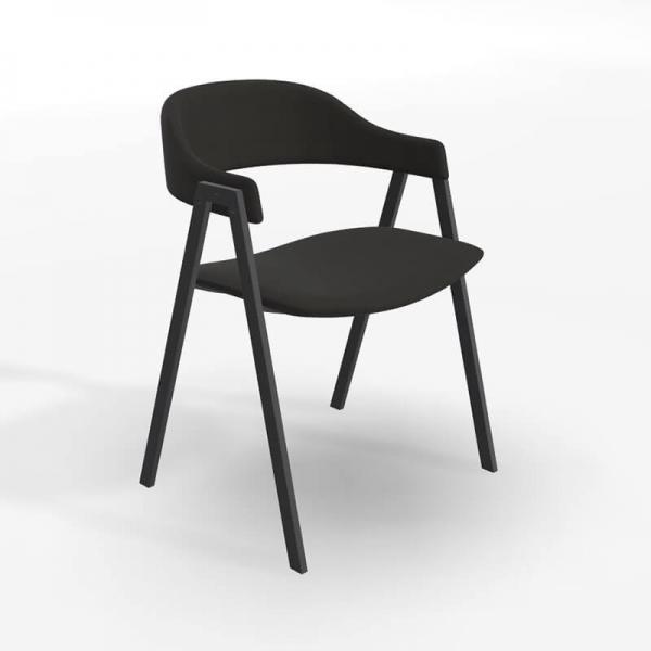 Fauteuil de table en tissu noir - Arca - 1