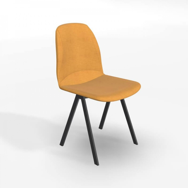 Chaise de salle à manger moderne en tissu jaune - Ona - 1