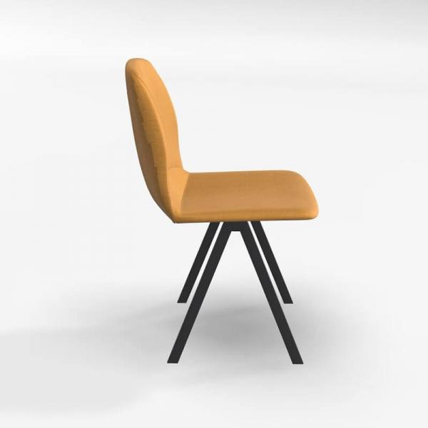 Chaise de séjour en tissu jaune - Ona - 3