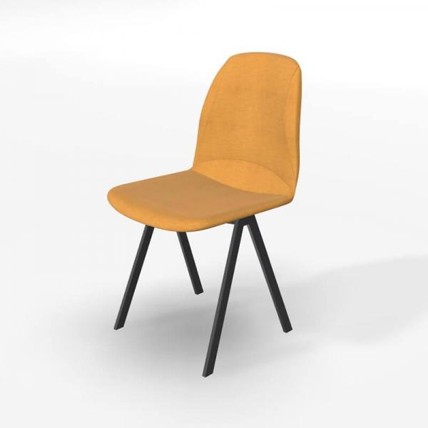 Chaise de salle à manger en tissu jaune - Ona - 2