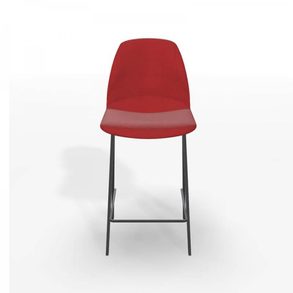 Tabouret hauteur 65 cm en tissu rouge - Ona - 4