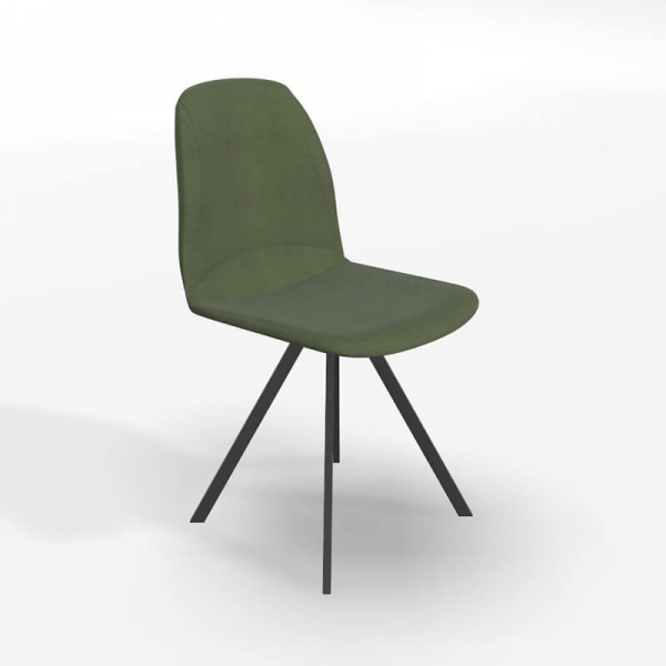 Chaise pivotante de salle à manger en tissu vert - Girona - 1