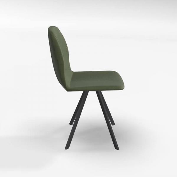 Chaise rotative de salle à manger en tissu vert - Girona - 3