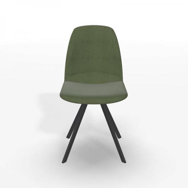 Chaise tournante de séjour en tissu vert - Girona - 4