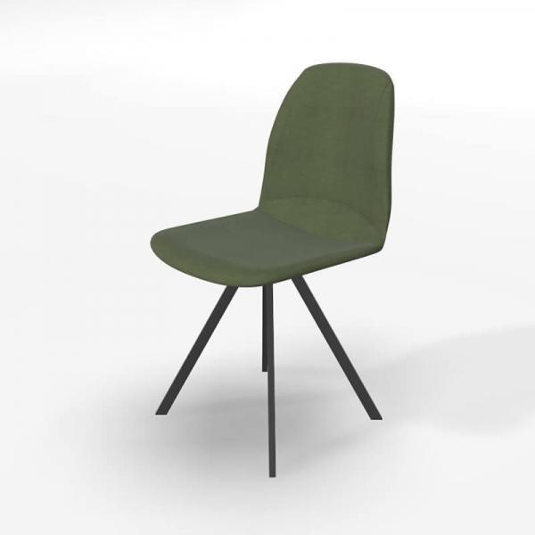 Chaise tournante de salle à manger en tissu vert - Girona - 2