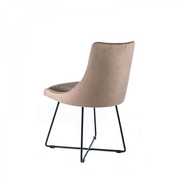 Chaise design pieds métal et tissu gris - Lars - 5