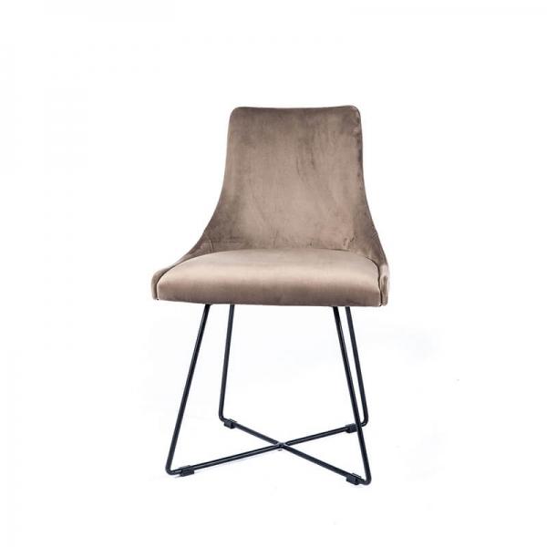 Chaise en tissu gris clair design et pieds métal noirs - Lars - 2