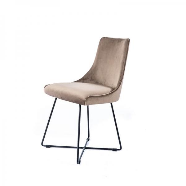 Chaise pieds métal design et tissu gris clair - Lars - 3
