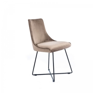Chaise design en tissu gris clair et pieds métal noirs - Lars