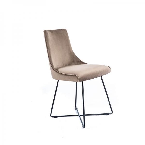 Chaise design en tissu gris clair et pieds métal noirs - Lars - 1