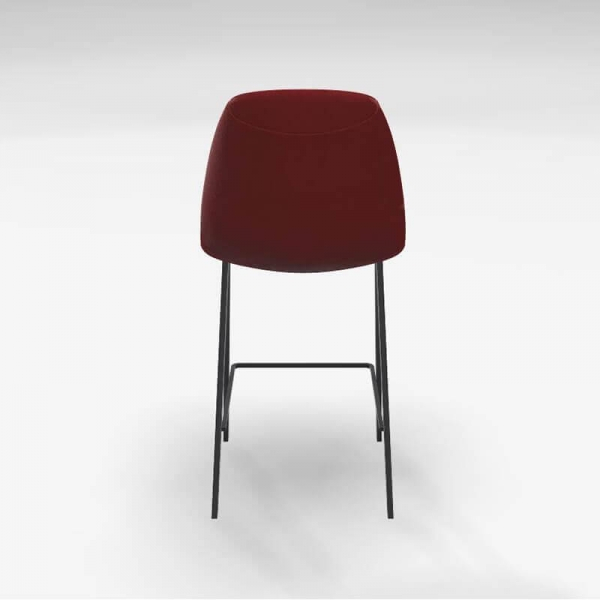 Tabouret hauteur 65 cm en tissu rouge et pieds en métal noir - Ona - 5
