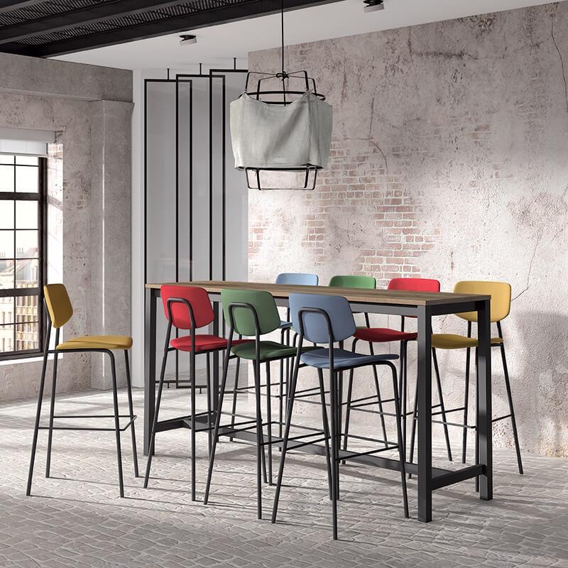 Table Haute De Cuisine Hauteur 110 Cm En Stratifie Et Metal