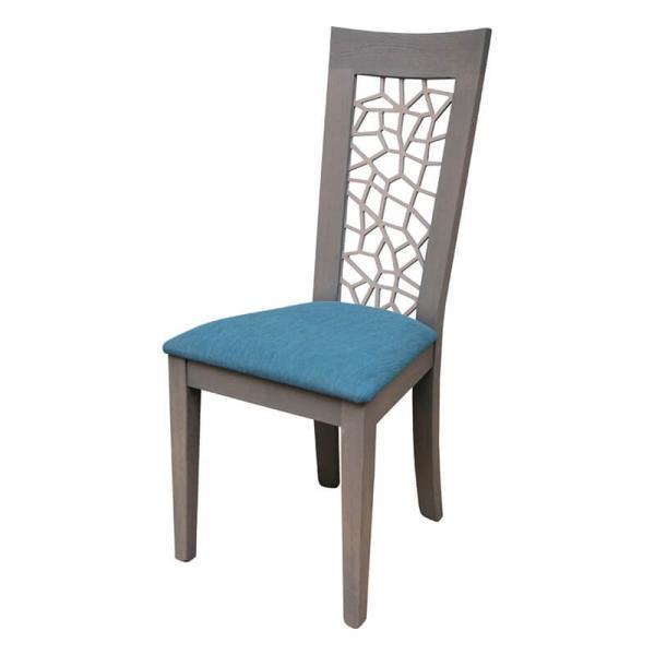 Chaise française en bois dossier ajouré et assise en tissu bleu - Crocus - 2