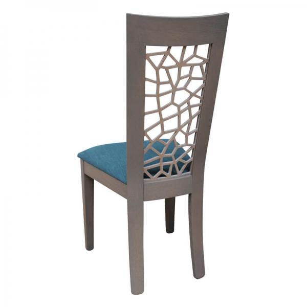 Chaise française en bois dossier ajouré et assise en tissu bleu - Crocus - 3