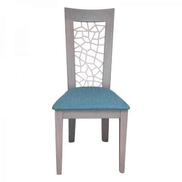 Chaise française en bois dossier ajouré et assise en tissu bleu - Crocus - 4